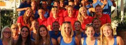 Group picture of Dive2gether crew in blue shirts and Live2dive students in red shirts