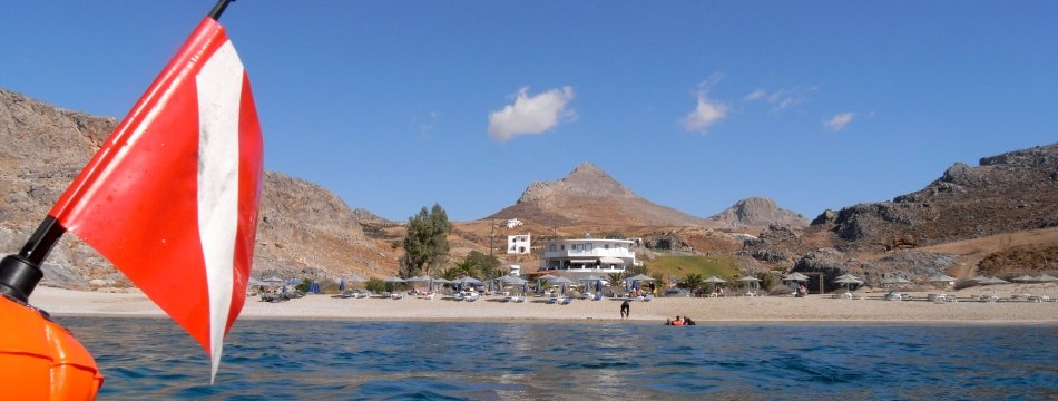scuba diving in sheltered bay on south coast of Crete